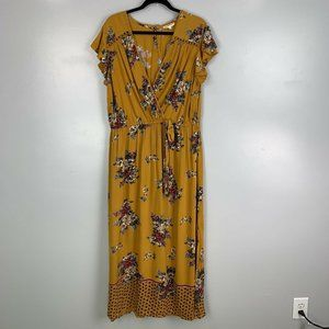 Romantic Gypsy Yellow Gold Floral Maxi Dress